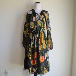 Asos Criss-Cross Floral Long Sleeve Midi Dress NWT